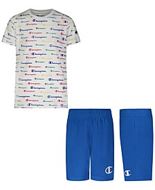 Baby Boys 2-Pc. Multicolor Logo-Print T-Shirt & Mesh Shorts Set