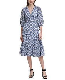 Printed Blouson-Sleeve Midi Dress