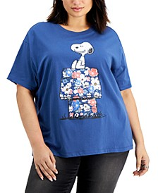 Trendy Plus Size Snoopy Floral-House-Graphic T-Shirt