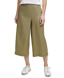 Solid Button-Front Wide-Leg Pants
