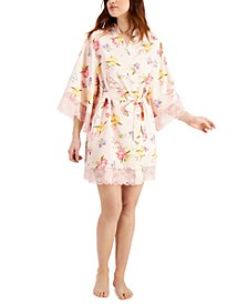 INC Lace-Trim Floral Wrap Robe, Created for Macy's