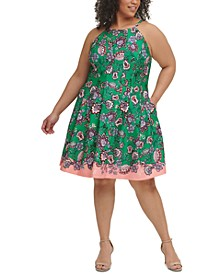Plus Size Halter Fit-and-Flare Dress