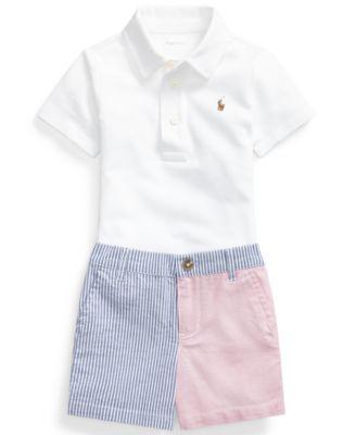 폴로 랄프로렌 Polo Ralph Lauren Baby Boys Polo Shirt & Patchwork Shorts Set,White/multi