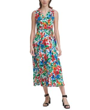 Calvin Klein PETITE FLORAL-PRINT MAXI DRESS