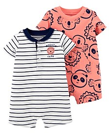 Baby Boys Mighty Cute Snap-Up Rompers, Pack of 2