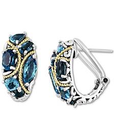 EFFY® Blue Topaz Curved Hoop Earrings (4-3/8 ct. t.w.) in Sterling Silver & 18k Gold-Plate