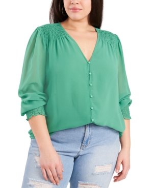 1.state Trendy Plus Size Sheer Long-sleeve Top In Green