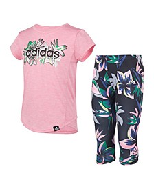 Little Girls T-shirt and Floral Capri Tight Set, 2 Piece