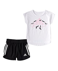 Little Girls Graphic T-shirt and Short Set, 2 Piece