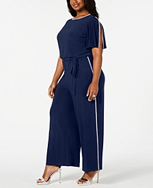 Plus Size Rhinestone-Trim Belted Jumpsuit