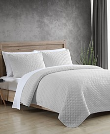 Garment Washed Solid 2 Piece Twin Quilt Set