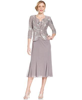 Alex Evenings Petite Sequined Midi Dress and Jacket - Dresses ...