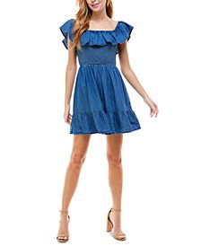 Juniors' Cotton Chambray Fit & Flare Dress