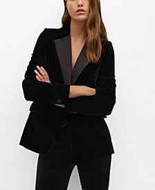 Women's Contrast Flap Velvet-Textured Blazer