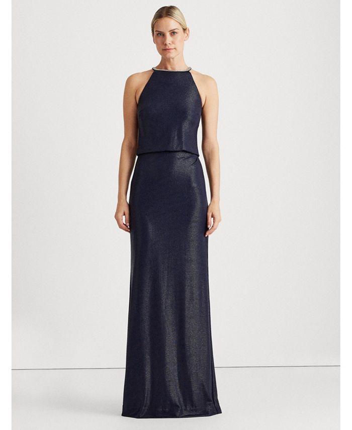 Lauren Ralph Lauren - Metallic Halter-Neck Gown