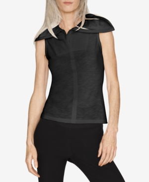 Safe Cotton Wide-Collar Sleeveless Top