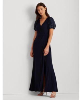 로렌 랄프로렌 Lauren Ralph Lauren Jersey Puff-Sleeve Gown,Navy Blue