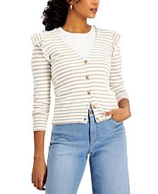 Petite Striped Ruffle-Trim Cardigan, Created for Macy's