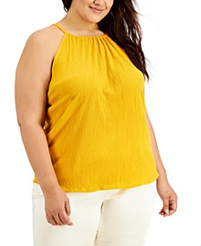 Plus Size Crinkled Halter Top, Created for Macy's