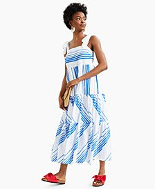 Striped Tie-Shoulder Tiered Midi Dress, Created for Macy's