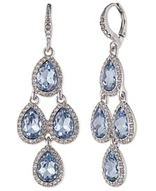 Gold-tone and Rose Peach Crystal Chandelier Earring