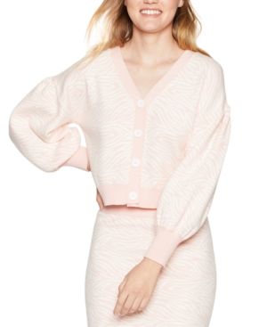 Bcbgeneration Cropped Zebra Cardigan Sweater In Light Pink