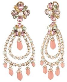 Gold-Tone Cubic Zirconia & Imitation Pearl Flower Orbital Chandelier Earrings