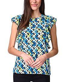Floral-Printed Flutter-Sleeve Top, Regular & Petite
