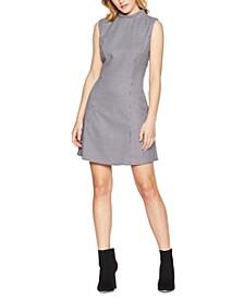 Printed Mock-Neck A-Line Mini Dress