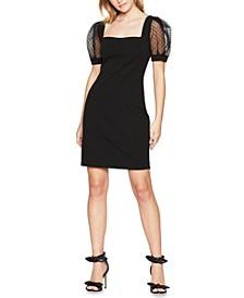 Sheer-Sleeve Bodycon Dress