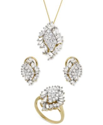 Diamond Cluster Pendant Necklace (1 ct. t.w.) in 14k Gold, Created for Macy's