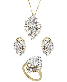Diamond Baguette & Round Diamond Cluster Jewelry Collection in 14k Gold, Created for Macy's