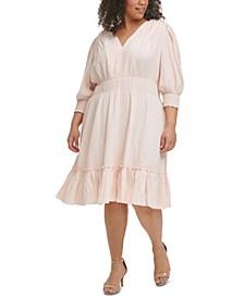 Plus Size Solid Smocked V-Neck Dress