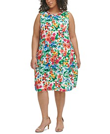 Plus Size Floral-Print Trapeze Challis Dress