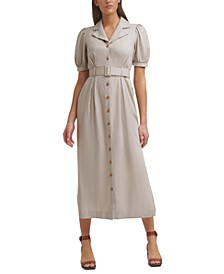 Belted Button-Front Linen Notched-Collar Maxi Dress
