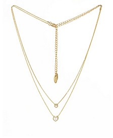 Dainty Chain and Crystal Heart Necklace Set of 2