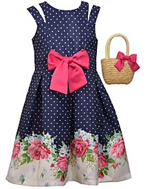 Big Girls Sleeveless Shantung Floral Border Print Dress with Straw Handbag