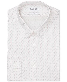 Calvin Klein Men's Steel Slim-Fit Non-Iron Performance Stretch Pink Dotted Geo-Print Dress Shirt