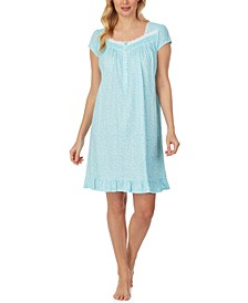 Lace-Trim Cotton Short Nightgown