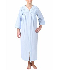 Plus Size Embroidered Gingham Robe
