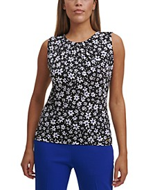 Floral-Print Pleated-Neck Tank
