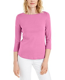 Petite Pima Cotton Button-Shoulder Top, Created for Macy's
