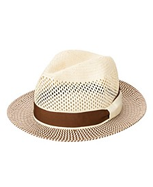 Men's Woven Paper Fedora with Vented Crown Hat