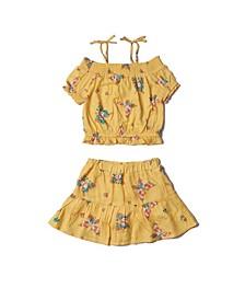 Toddler Girls All Over Print Bardot and Skirt Challis Set