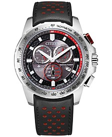 Eco-Drive Men's Chronograph Promaster Land Black & Red Leather Strap Watch 43mm
