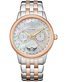 Women's Eco-Drive Calendrier Diamond Accent Two-Tone Stainless Steel Bracelet Watch 37mm