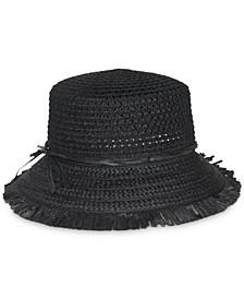 Black Packable Open Weave Bucket Hat