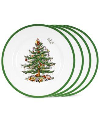 Dinnerware, Set of 4 Christmas Tree Dinner Plates