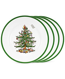 Spode Dinnerware, Set of 4 Christmas Tree Dinner Plates