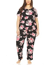 Dalphine II Printed Plus Size Pajama Set, 2 Piece